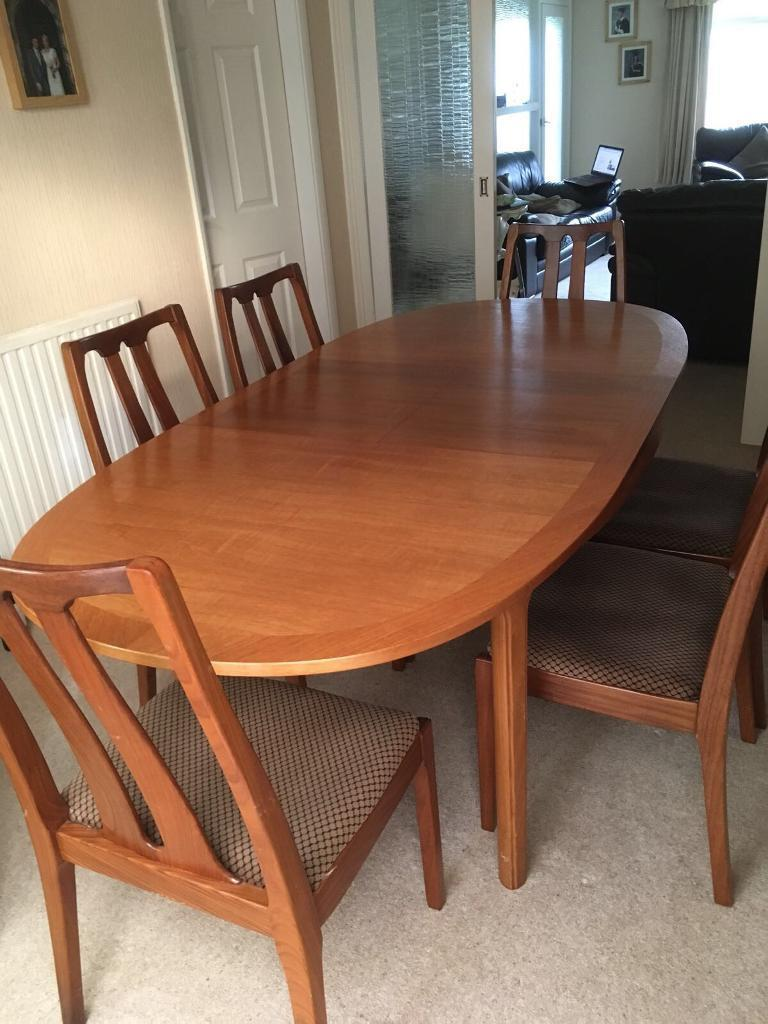 Original Vintage Retro Nathan Dining Room Table 6 Chairs And Corner Unit