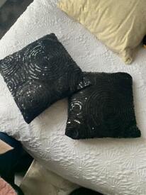 Black sequin cushions x2