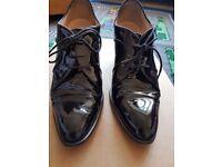 Hobbs patent black leather smart office heels EU 40