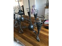 Pair of silver grey light fittings chandeliers
