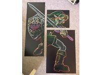 "Custom 3-Panel ""Link"" Print (Legend of Zelda) on Aluminium Di-Bond"