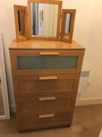 Chest of 4 drawers and mirror