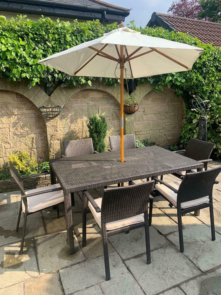 Rattan table, 6 chairs set and parasol | in Liverpool ...