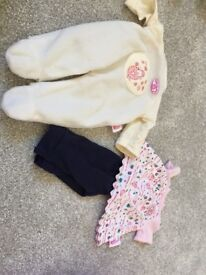 Beautiful Laura Ashley rag dolls and baby doll in Moses basket