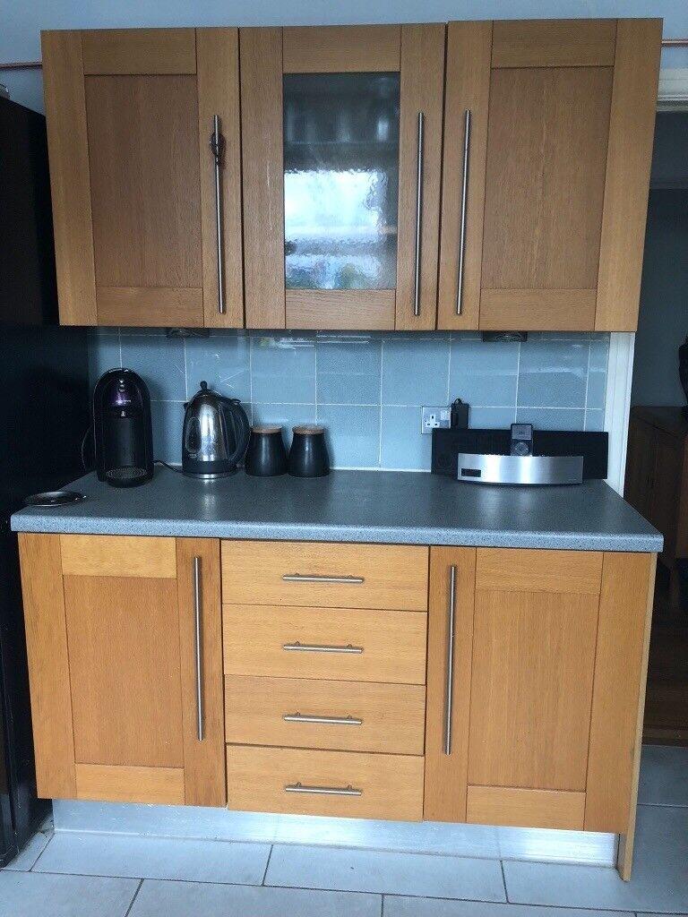 Used solid oak doors kitchen cabinets, sink, dishwasher | in Penarth ...