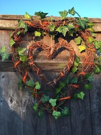Wicker woven heart decoration