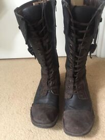 Leather lace up boots with suede detailing, UK size 6, £25.