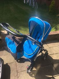 Pram & Pushchair - Silver Cross Wayfarer - Car Seat - Isofix Base - Parasol - Bag Sky Blue & Chrome