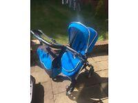 Pram & Pushchair - Silver Cross Wayfarer - Car Seat - Isofix Base - Parasol - Bag Sky Blue & Chrome