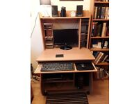 Computer Workstation excellent condition with DVD/CD storage and shelving for printers etc