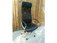 Office Chair - IKEA Markus Swivel Chair - Black Leather effect & Mesh