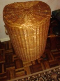 Large wicker basket with lid - for laundry, toys etc. Excellent condition.