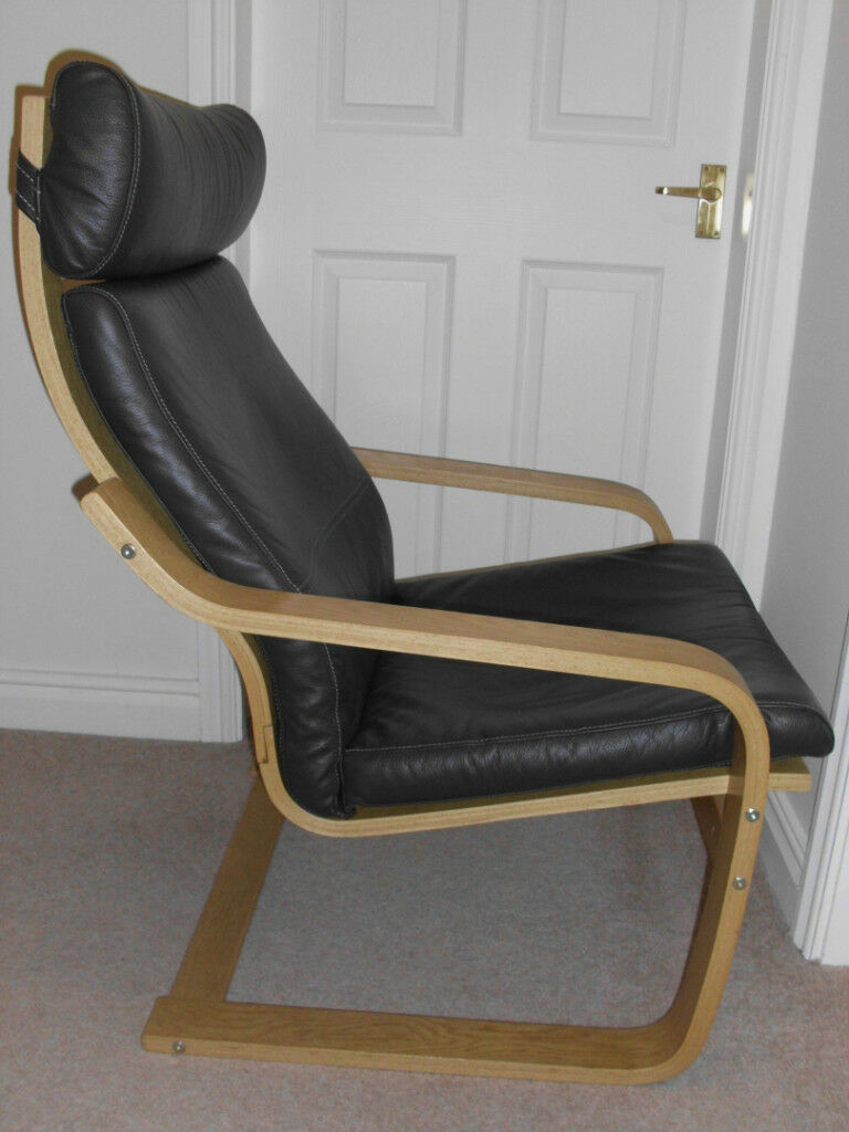 ikea poang chair brown leather. Black Bedroom Furniture Sets. Home Design Ideas