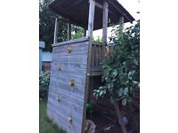 Wooden Play Tower with climbing wall, rope and step ladder