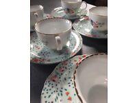 John Lewis Vintage Style Tes Cups & Cake Plate