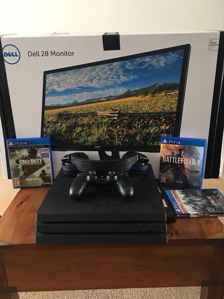 "PS4 Pro + 28"" 4K ultra HD Dell Monitor + Latest Games + Turtle Beach"