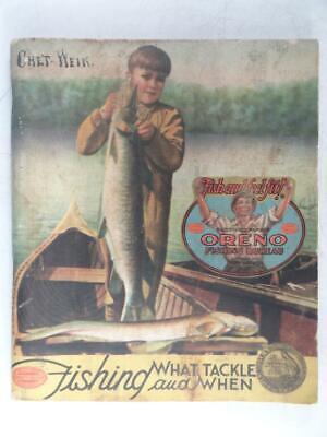 Antique Oreno Fishing Bureau Tackle Fish Lure Catalog Book 1933 South Bend Vtg