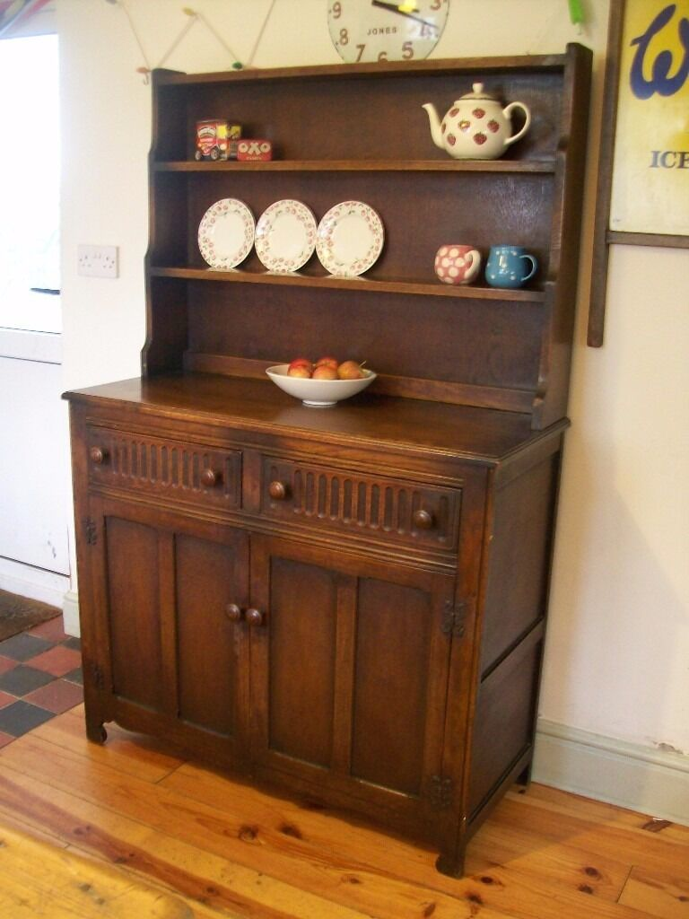 Vintage Welsh Dresser Rich Dark Oak Wood Tone Old Charm Antique Shabby Chic