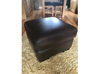 Leather Harveys footstool, oak living room furniture. No damage
