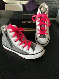 Converse All Star High Zipped - Kids / Youth UK 12.5 Silver / White / Pink