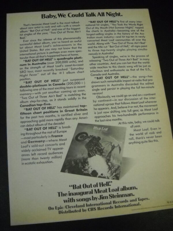 MEAT LOAF Bat Out Of Hell the inaugural...album 1978 PROMO POSTER AD mint cond