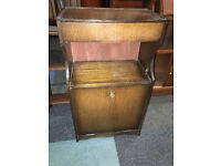 Charming Vintage Solid Oak Hallway Shoe Storage Cabinet Rack with Drawer and Shelf