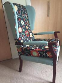 Upcycled winged armchair