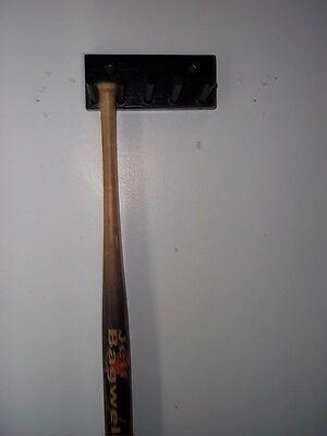 BASEBALL BAT RACK DISPLAY HOLDER 4 MINI SIZE COLLECTIBLE BATS BLACK WALL MOUNT - Mini Baseball Bat Display