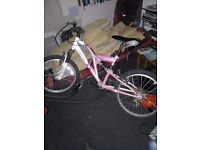 "Girls mountain Bike age 6-10yrs 20"" wheels Vesuvious vertigo in pink 6 gears dual suspension ."