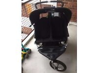 Out 'N' About Nipper 360 Double Pushchair, Buggy, Pram Black