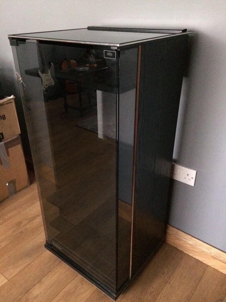 Hi Fi cabinet black with tinted glass door storage for record player
