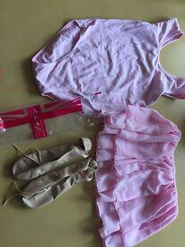 Ballet items. Shoes, leotard, skirt