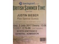 2 Justin Bieber tickets to Hyde park
