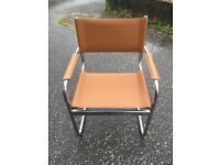 Directors chair - leather look neutral colour