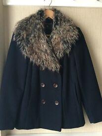 Dorothy Perkins Navy Faux Fur Pea Coat - Size 12