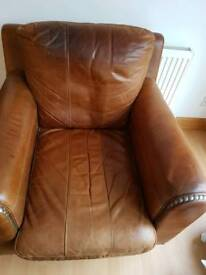 Real hide leather settee, chair and footstool