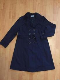 Wallis Navy Blue Trench Coat size 18