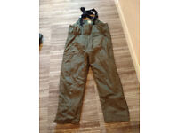 Regatta Bib and brace padded chest high trousers. Ideal for winter fishing. Bargain at £10