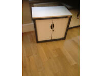 office storage tambour unit Flexiform white and dark with shelve