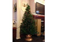 6 Foot Fibre Optic Multi Colour Changing Lights Christmas Tree with Gold Base LED Festive Xmas