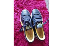Gents Size 9, mavy and yellow Puma Basket trainers