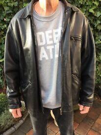 mens black leather jacket - large to extra large