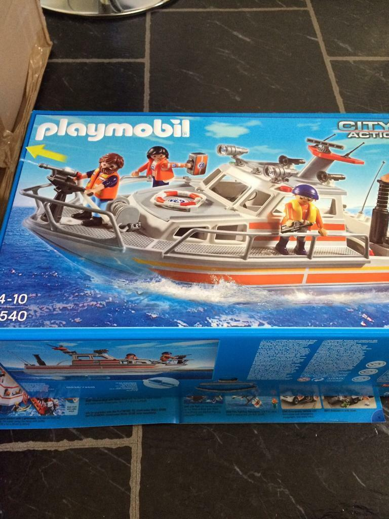 Playmobil City Action Coast Guard Rescue Boat with Water Hose NEW