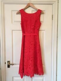 Phase Eight Red Embroidered Evening Dress Size 8