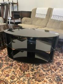 Oval glass tv stand for sale