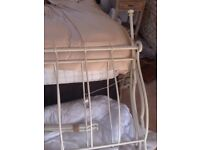 Laura Ashley Cream sleigh bed frame.double.no slats.,marked as been in storage but will paint over