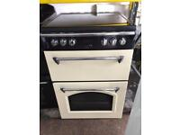 Black & cream leisure 60cm ceramic hub electric cooker grill & double fan ovens with guarantee