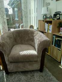 Beautiful cord & leather tub chair