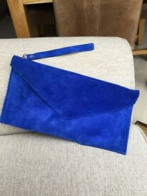 Women's Blue Suede Clutch Bag.