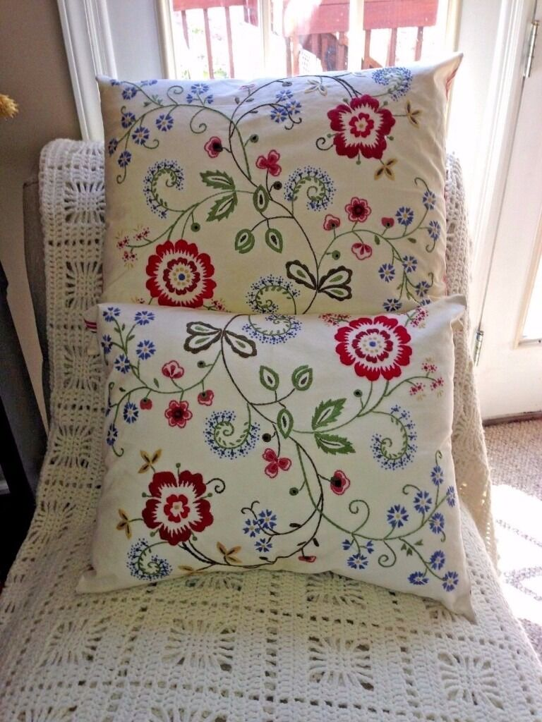 2 Ikea Alvine Flora Embroidered Cushion Pillow Covers